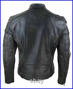 Blouson homme cuir délavé vieilli véritable style vintage biker fermeture zip
