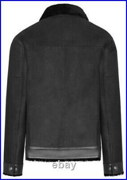 Blouson homme cuir peau lainée (mouton retourné) Taille L