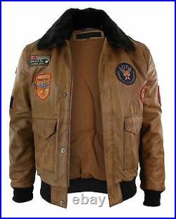 Blouson homme cuir véritable Air Force aviateur Bomber marron vintage badges