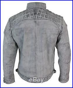Blouson homme cuir véritable doux blanc vieilli veste biker rétro décontracté