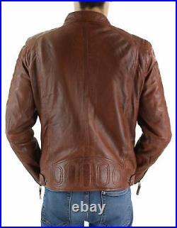 Blouson homme cuir véritable marron clair style biker vintage coupe ajustée
