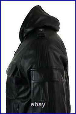 Blouson homme cuir véritable noir capuche coupe cintrée slim
