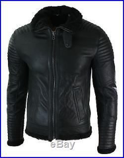 Blouson homme veste cuir véritable peau de mouton retournée noir style aviateur