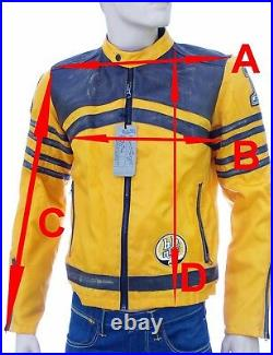 Blouson moto racing nylon et cuir homme jaune orange BOMB BOOGIE taille M GIALLO