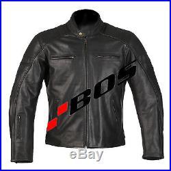 Blouson moto street bandit veste motard en cuir Biker Rocker hommes noir neuf