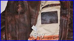 Blouson moto veste homme HARLEY DAVIDSON cuir marron taille L
