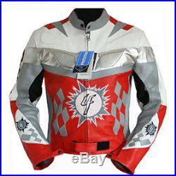 Blouson motocyclette en cuir rouge veste moto motard