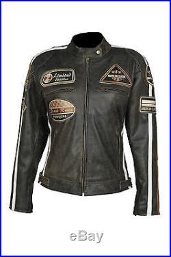 Blouson pour femmes veste VINTAGE moto en cuir STYLE HARLEY NEUF 38-44