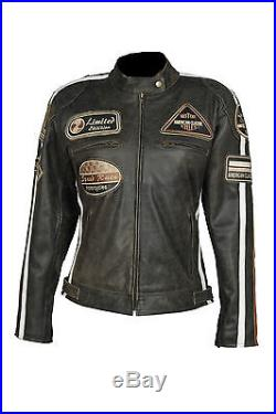 Blouson pour femmes veste VINTAGE moto en cuir STYLE HARLEY NEUF XS-XL