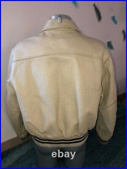 Blouson teddy en cuir vachette blanc REDSKINS taille XL VINTAGE