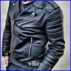 Blouson véritable Cuir Homme Perfecto Noir Fashion Japan style taille 3XL
