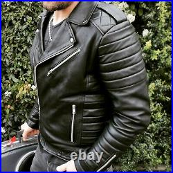 Blouson véritable Cuir Homme Perfecto Noir Fashion Japan style taille 4XL
