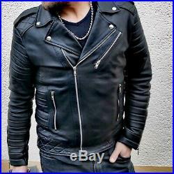 Blouson véritable Cuir Homme Perfecto Noir Fashion Japan style taille L