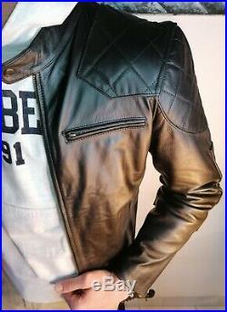 Blouson véritable Cuir Homme café racer Noir Fashion surpiqûres taille L