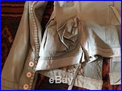 Blouson veste Girbaud cuir vert de gris T 38