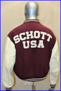 Blouson veste collège Teddy SCHOTT manches cuir vintage 90 bordeaux 42 US L EUR