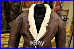 Blouson veste en cuir mouton shearling marron vintage des années 80 homme L/XL