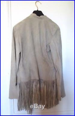 Blouson veste en daim cuir VENTCOUVERT. Nubuck leather jacket. Leder Vest. Beige