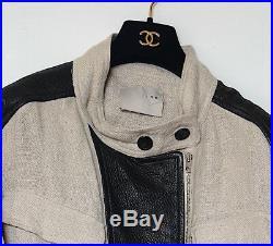 Blouson veste en lin et cuir IRO. Linen leather perfecto vest. Bon état. Leder