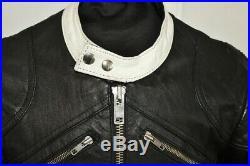 Blouson veste motard moto cuir blanc noir vintage biker caferacer taille S