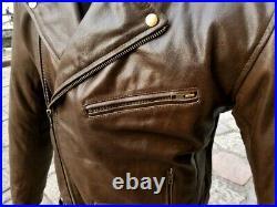 Blouson veste motard moto cuir marron biker perfecto GUENDJ court taille XXL