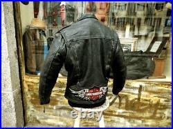 Blouson veste motard moto cuir noir vintage biker HARLEY DAVIDSON taille M