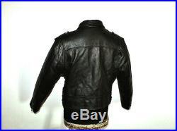 Blouson veste motard moto cuir noir vintage biker caferacer perfecto court 48