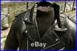 Blouson veste motard moto cuir noir vintage biker perfecto grande taille 56/58
