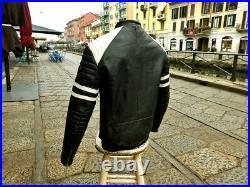 Blouson veste moto en cuir blanche noir vintage biker caferacer perfecto M
