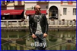 Blouson veste moto en cuir blanche noir vintage biker caferacer taille M