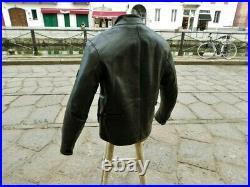 Blouson veste moto en cuir noir vintage biker caferacer Belstaff 90s taille XL
