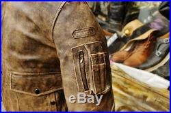 Blouson veste moto en cuir pour homme vintage HEIN GERICKE marron âgé taille M
