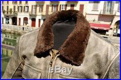 Blouson veste moto en cuir pour homme vintage TRIUMPH gris âgé taille M