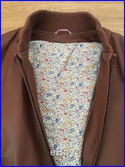Blouson veste parka cuir Serge Blanco marron taille M