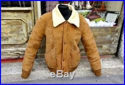 Blouson veste style bomber en peau cuir de mouton retournée taille M
