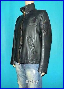 Blouson vintage coupe pilote Français en cuir bleu taille 48 ou L