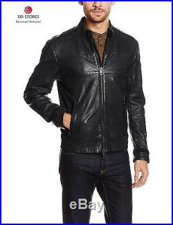 Boss Orange Jondro Blouson Veste en cuir Manches Longues Homme Noir Black