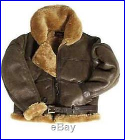 Britannique Armée Militaire Raf Blouson Agneau Veste en Cuir Leather Jacket M