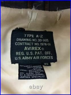 Brocante AVIREX A-2/ 1978-01/ Dos Imprimé / Veste Cuir Blouson Xs Jean Marron