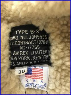 Brocante AVIREX B-3 Ac-1775 Veste Cuir Blouson 38 Marron Uni USA Utilisé
