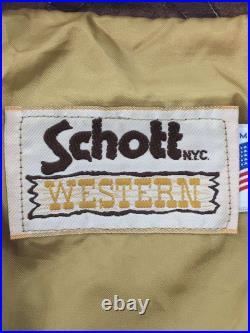 Brocante Schott Veste Cuir Blouson / 36 /Cuir /Marron/ Ouest pour Hommes