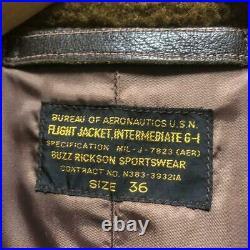 Buzz Rickson's G-1 Cuir Vol Veste Blouson Manteau Homme Taille 36 Boa Véritable