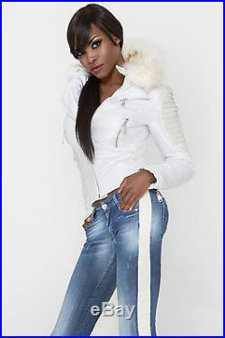 By Alina veste femmes Sexy en fourrure clubwear BLOUSON MOTARD SIMILI CUIR