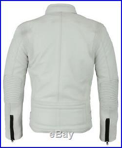 CE Renforcé Blanc Moto Cuir Veste De Course FR