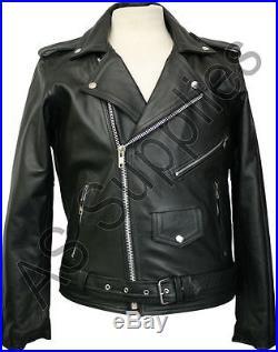 CLASSIC BIKER Noir Veste de Moto en Cuir Blouson Motard Toutes tailles