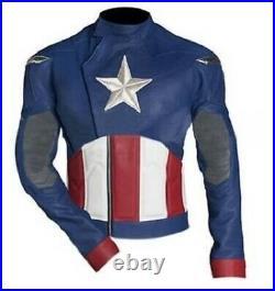 Captain America Veste En Cuir Moto Chaqueta De Cuero Motorrad Leder Jacke Ce