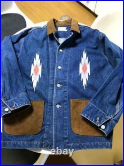 Chimayo Jeans Daim Veste Combinaison Blouson Homme L Cuir Broderie Vintage