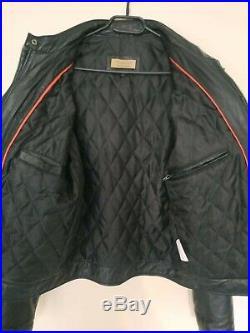 Chyston- Manteau en cuir- Veste style motard- Blouson en cuir d'agneau- Taille M