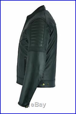 Cuir Moto Veste avec Armure Noir Moto Touring Motard Homologué Ce