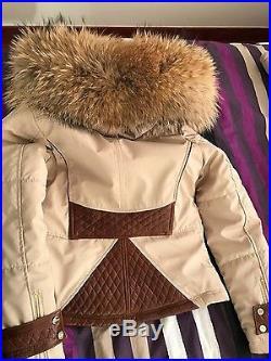 DOUDOUNE NEUF veste VENTIUNO FOURRURE veritable blouson 40 42 beige cuir marron